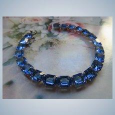 Vintage Sterling Open Back Crystal Bracelet Beautiful Blue