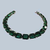 Vintage Sterling Open Back Crystal Bracelet Beautiful Green