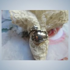 Vintage Sterling Spoon Ring signed Joan Of Arc