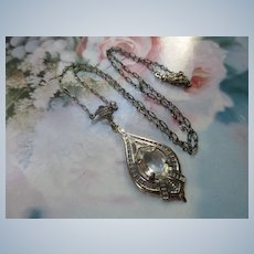 Vintage Sterling Lavaliere Necklace