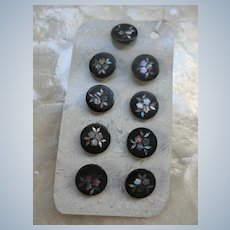 Victorian Set of 9 Mother Of Pearl Inlay Buttons