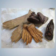 Antique Collection of Doll Gloves and Shoes
