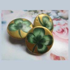 Victorian Porcelain Shamrock Buttons Set of 3