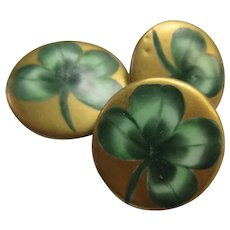 Victorian Porcelain Shamrock Buttons Set of 3
