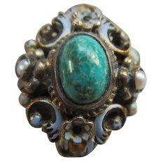 Antique Circa 1910 Austro Hungarian Silver Gilt Ring