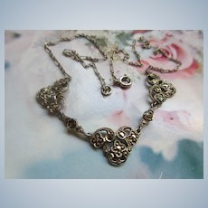 Vintage Sterling Marcasite Necklace