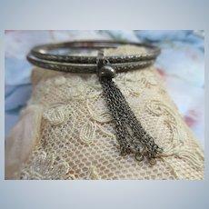 Vintage Sterling Bangle Bracelet with Tassel