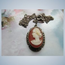 Vintage Silver Carved Shell Cameo Necklace with Marcasite Accents