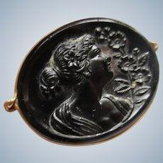 Older Vintage Molded Glass Cameo Pin