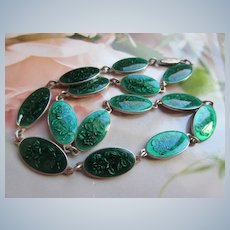 Vintage Enameled Necklace Beautiful Green