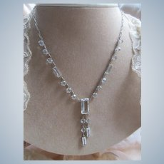 Vintage Deco Sterling Open Back Crystal Necklace