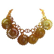 Vintage Early Plastic Floral Necklace