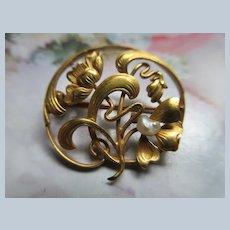 Antique Art Nouveau 10K Pin