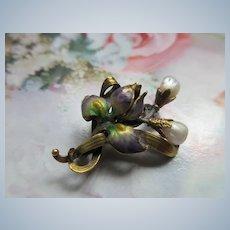 Antique Art Nouveau 10K Enameled Iris Pin  River Pearls