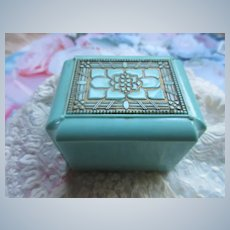 Vintage Celluloid Ring Box  Unusual Aqua Turquoise Blue