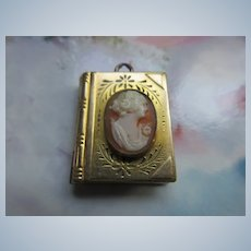Vintage Cameo Book Locket in Gold Fill