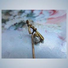 Antique 10K Wish Bone Stick Pin  River Pearl