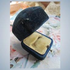 Antique Deep Blue Velvet Ring Box Display Box