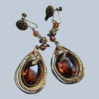 Vintage 30s Czech Glass Snake Drop Screw Back Earrings