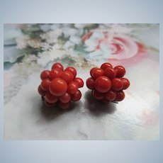 Vintage Natural Coral Clip On Earrings