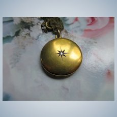 Antique Victorian 10K Diamond Star Burst Locket
