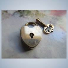 Older Vintage Tiny Working Heart Padlock with Key