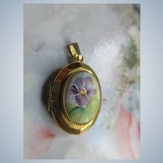 Vintage Painted Pansy on Porcelain Locket