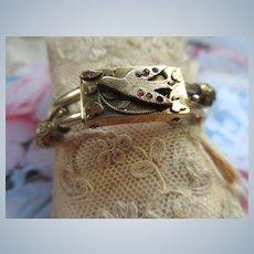 Antique Victorian Bypass Bracelet Garnet Accents