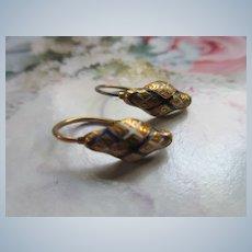 Antique Victorian 14K Enameled Pierced Earrings