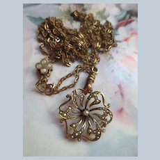 Victorian Antique Watch Chain Necklace with 10K Pendant
