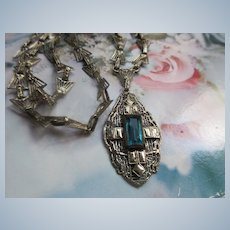 Vintage Deco 20s 30s Filigree Lavaliere Necklace