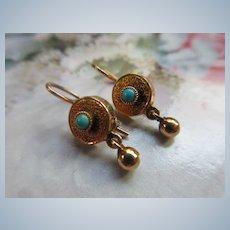 Victorian Antique 10K Persian Turquoise Pierced Earrings