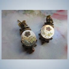 Antique Victorian Pierced Flower Earrings in Gold Fill