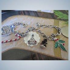 Vintage Sterling Enameled Christmas Charm Bracelet