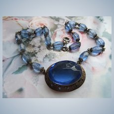 Vintage Czech Faceted Blue Glass Necklace circa 1930