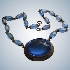 Vintage Czech Faceted Blue Glass Necklace circa 1930