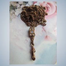 Antique Victorian Ladies Watch Chain with Opal Seed Pearl Slide