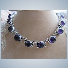 Vintage Sterling Mexico Taxco Amethyst Necklace