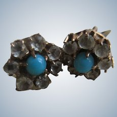 Antique 10K Persian Turquoise and Paste Pierced Earrings