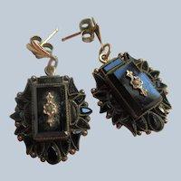 Victorian Antique Black Drop Pierced Earrings