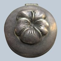Older Vintage Silver Toned Pansy Covered Box