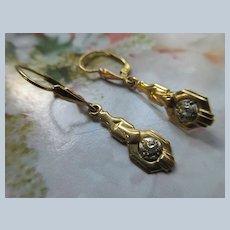Vintage Art Deco Era 18K Diamond Pierced Earrings