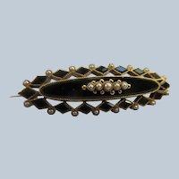 Victorian 10K Black Onyx Seed Pearl Pin