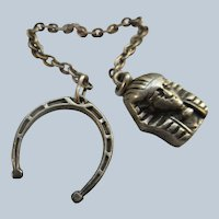 Older Vintage Watch Chain Egyptian Revival and Horse Shoe Fobs