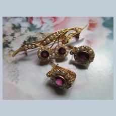 Antique 12K Pierced Earrings Purple Stone and Seed pearl Set