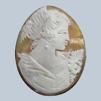 Vintage Carved Shell Cameo Pendant Brooch 800 Silver