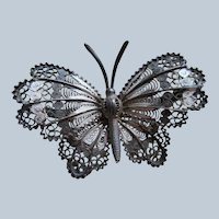 Older Vintage 800 Silver Butterfly Pin