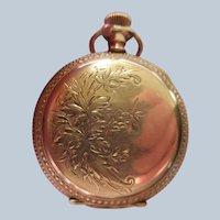 Antique Lonville Pocket Watch Gold Fill Floral Case