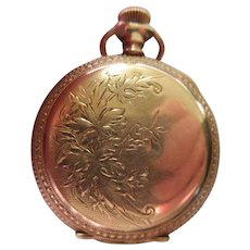 Antique Lonville Pocket Watch Gold Fill Floral Case