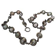 Vintage Open Back Crystal Sterling Necklace